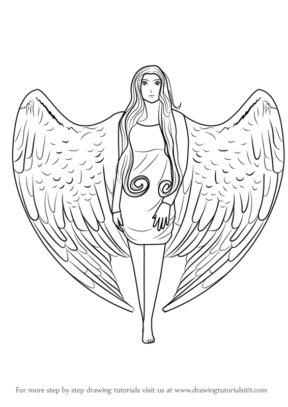 Learn how to draw an angel with wings angels step by step drawing tutorials