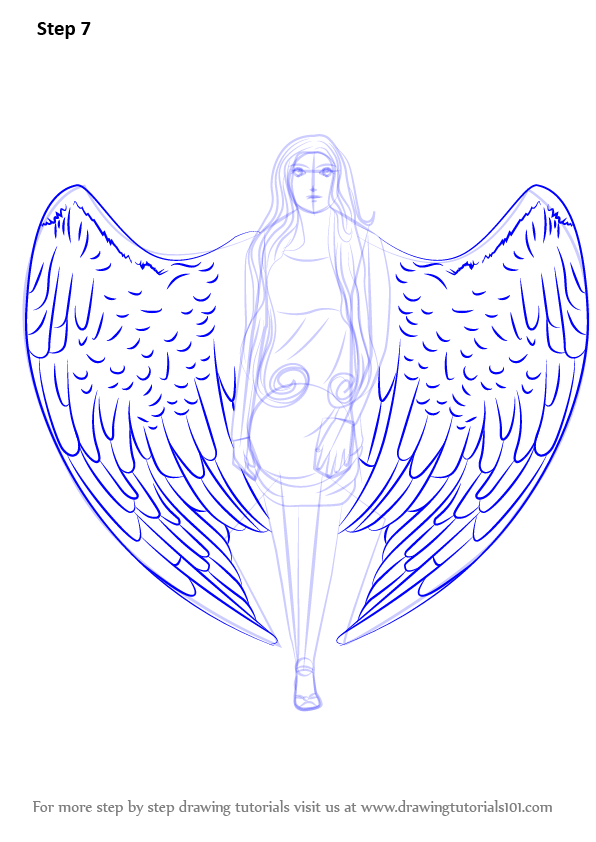 Learn How to Draw an Angel with Wings (Angels) Step by ...