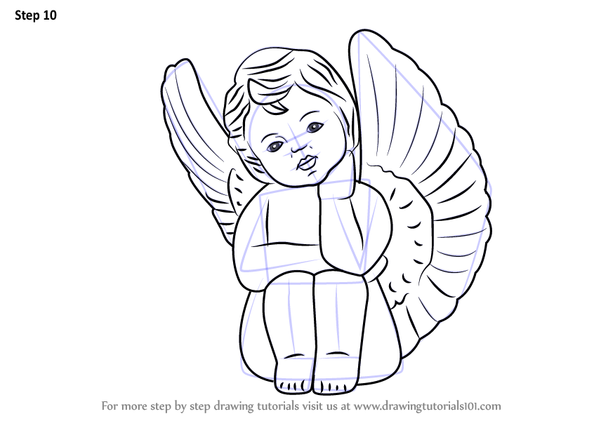 Step By Step How To Draw A Baby Angel With Wings