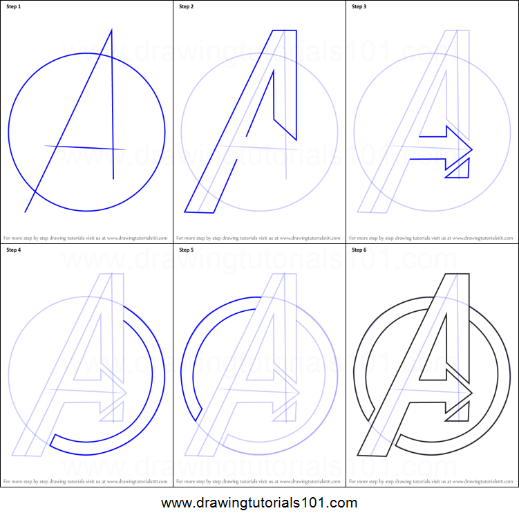 How To Draw Avengers Logo Printable Step By Step Drawing Sheet