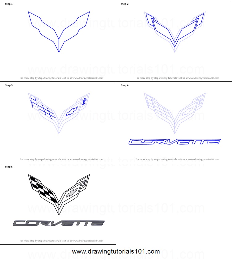 how to draw corvette logo printable step by step drawing sheet