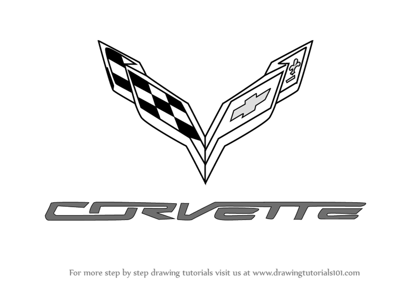Drawing Lines Brand : Learn how to draw corvette logo brand logos step by