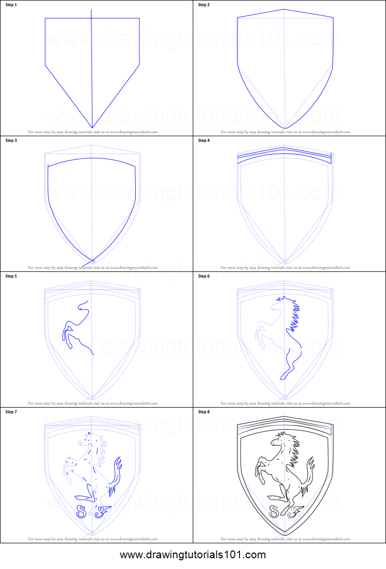 how to draw ferrari logo printable stepstep drawing sheet