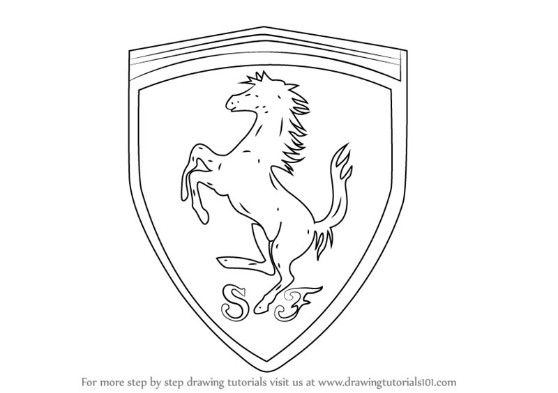 Learn how to draw ferrari logo brand logos step by step for Draw my logo