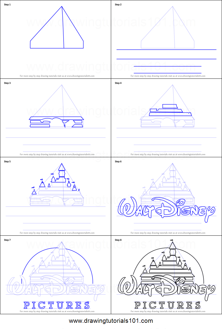 how to draw walt disney logo