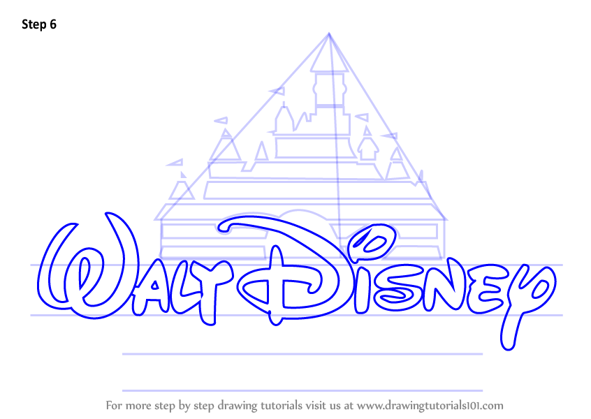 Step by Step How to Draw Walt Disney Logo  DrawingTutorials101com