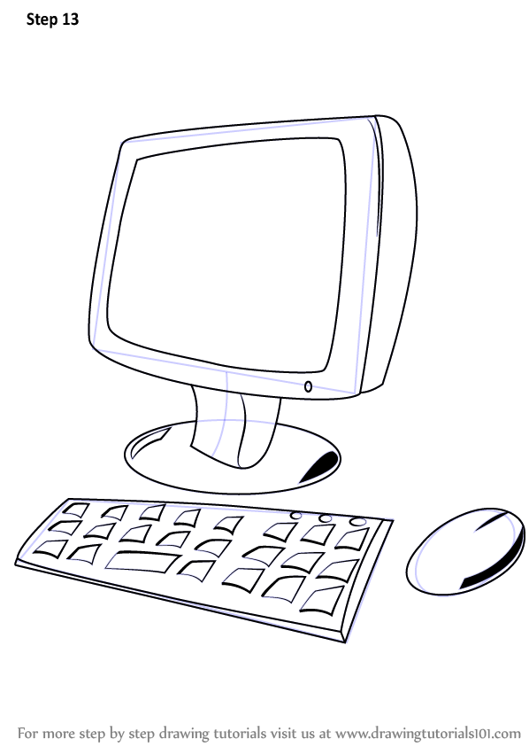 Step By Step How To Draw A Computer For Kids
