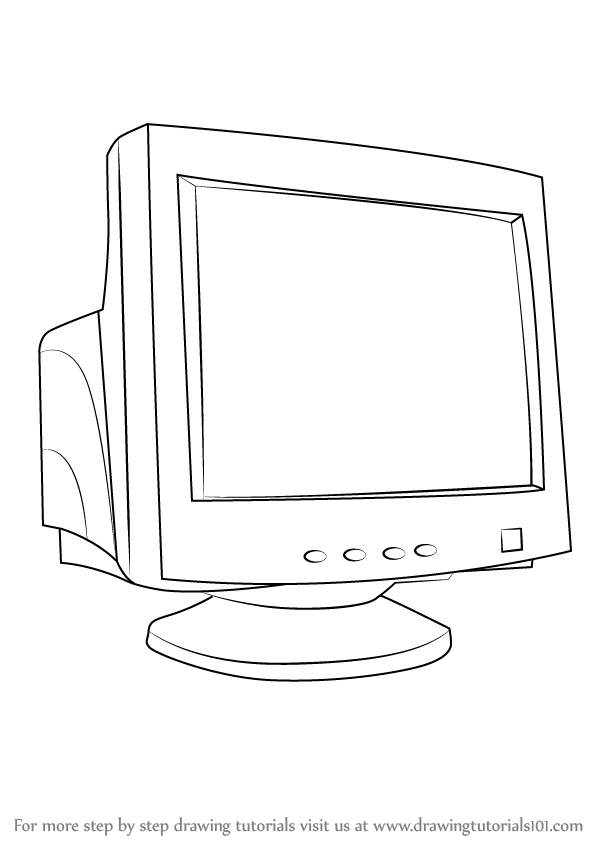 learn how to draw a computer monitor  computers  step by