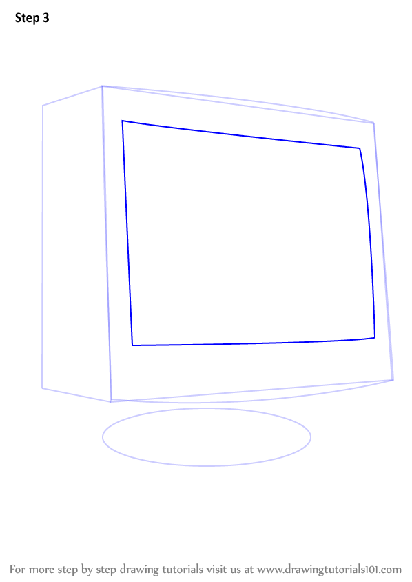 Learn How To Draw A Computer Monitor Computers Step By Step