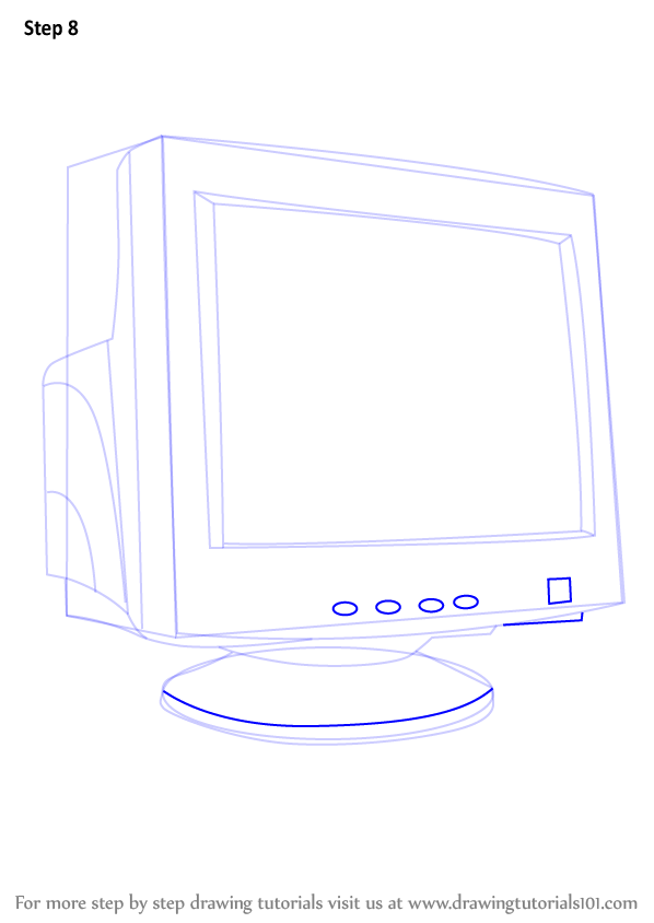 how to draw a computer step by step