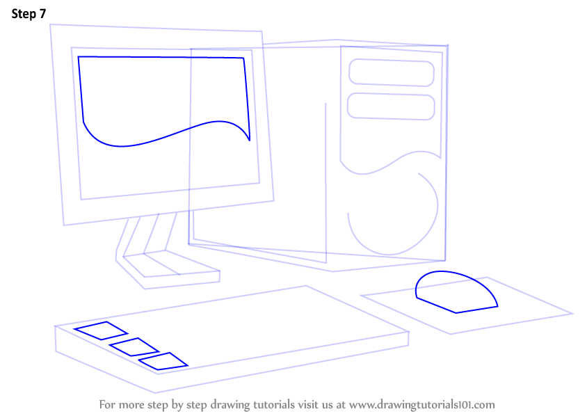 Learn How To Draw A Computer Computers Step By Step