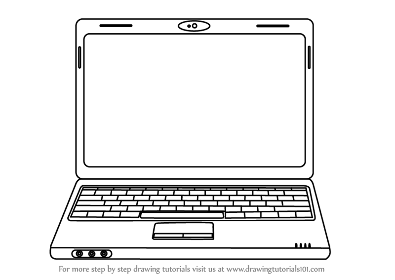 Line Art Laptop : Learn how to draw a laptop computers step by