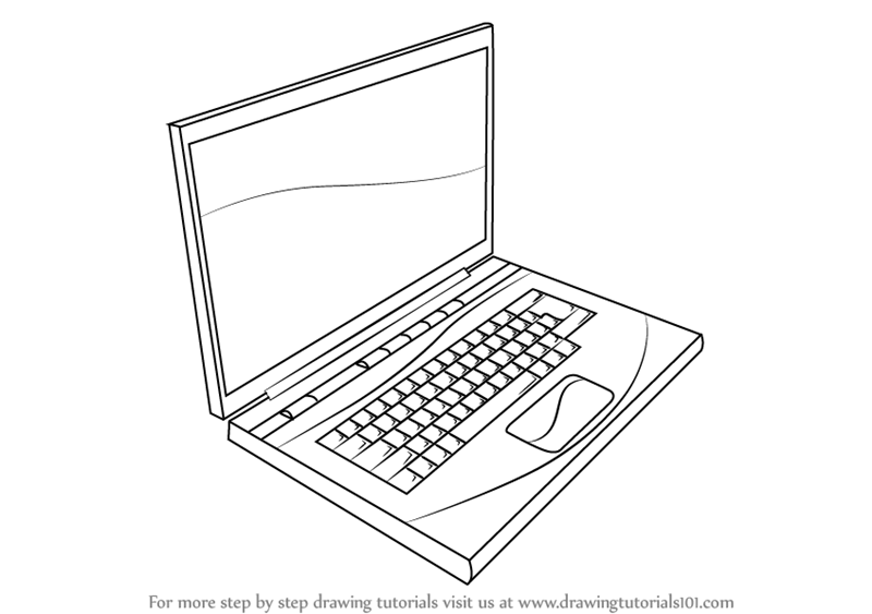 Learn How To Draw A Laptop Computers Step By Step Drawing Tutorials