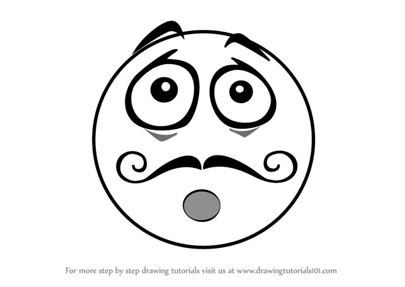 Learn How To Draw Mustache Emoji Emoticons Step By Step Drawing