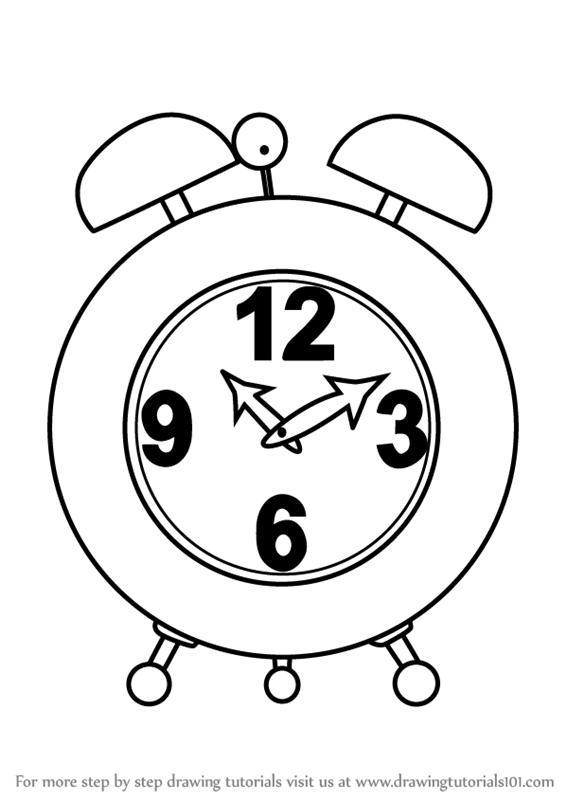 Learn How To Draw An Alarm Clock Everyday Objects Step By Step