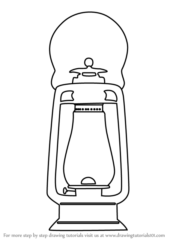 Learn How To Draw An Antique Lamp (Everyday Objects) Step By Step : Drawing  Tutorials