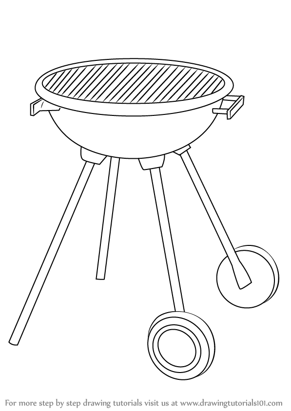 Step by Step How to Draw a BBQ Grill DrawingTutorials101