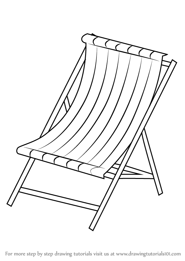 Learn How To Draw Beach Chair Everyday Objects Step By Drawing Tutorials