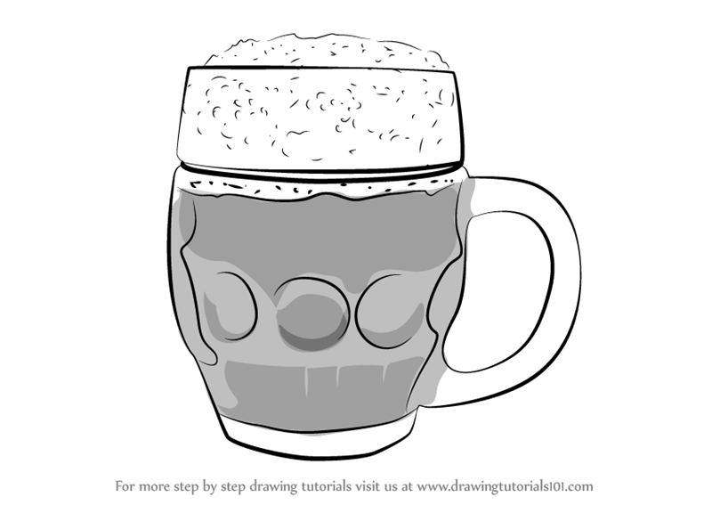 learn how to draw beer mug everyday objects step by step drawing tutorials
