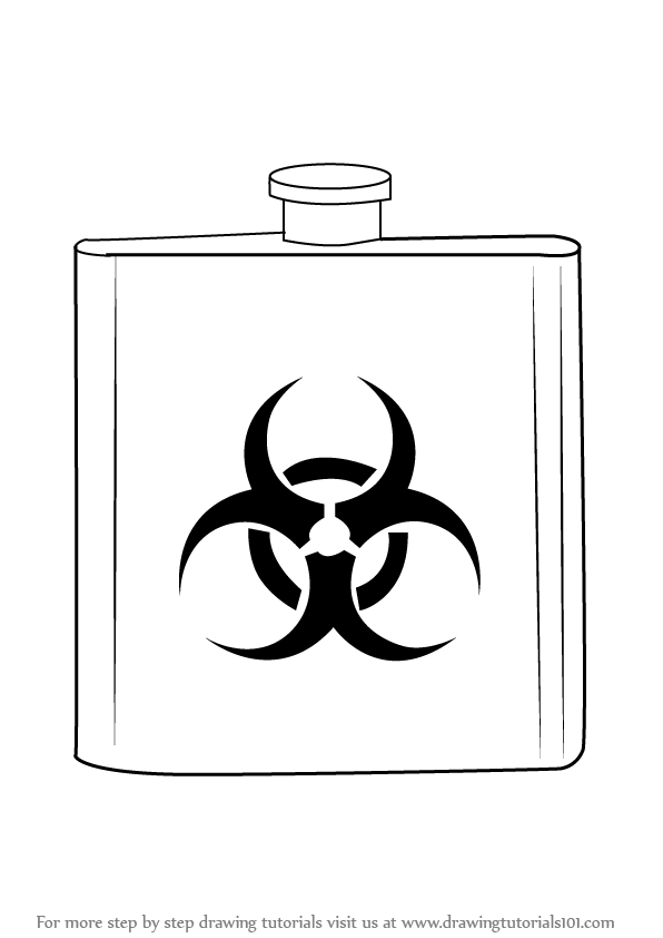 Learn How To Draw A Biohazard Flask Everyday Objects Step By Step