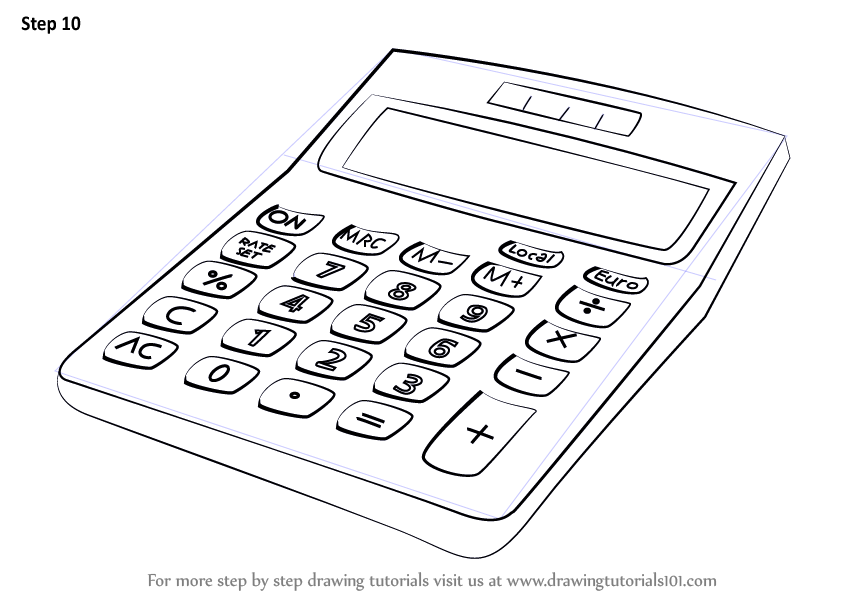 step by step how to draw a calculator