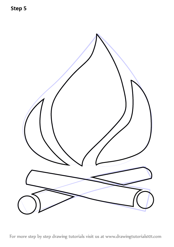 learn how to draw camp fire everyday objects step by step