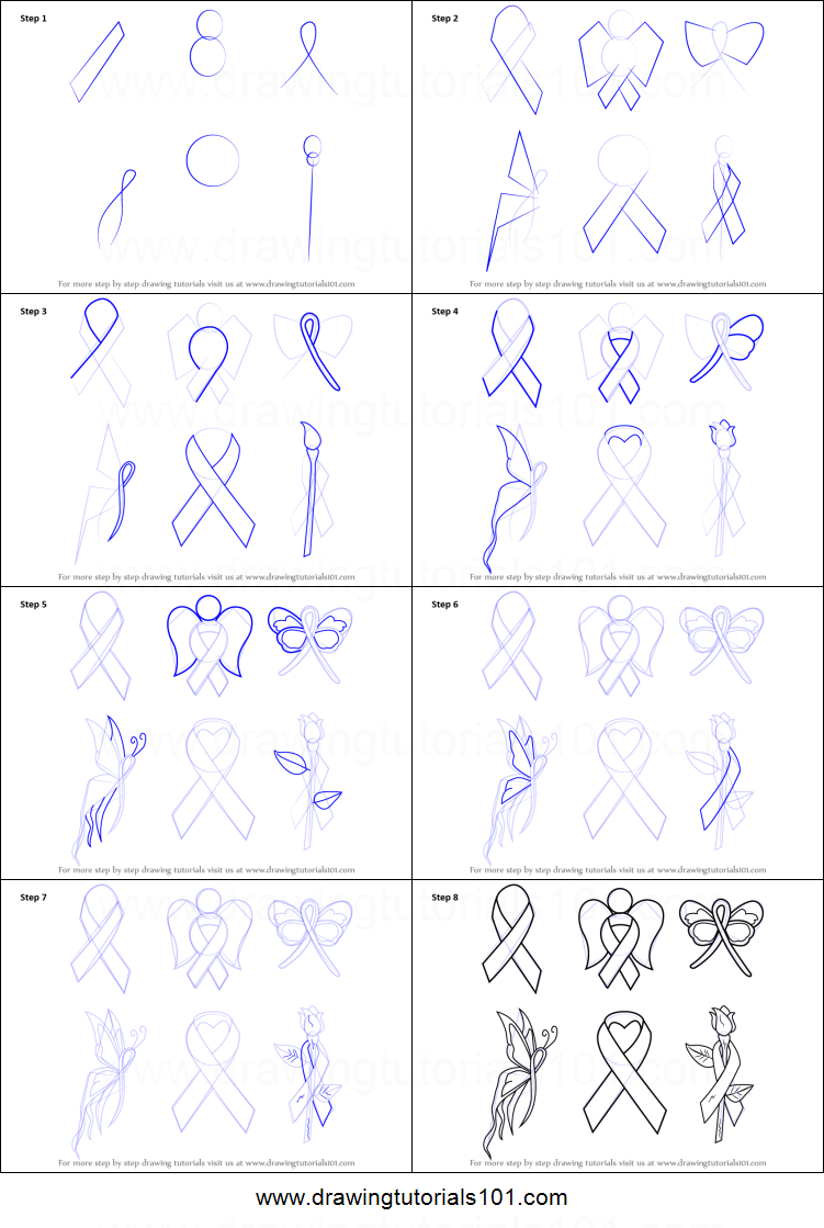 How To Draw Cancer Ribbons Printable Step By Step Drawing Sheet