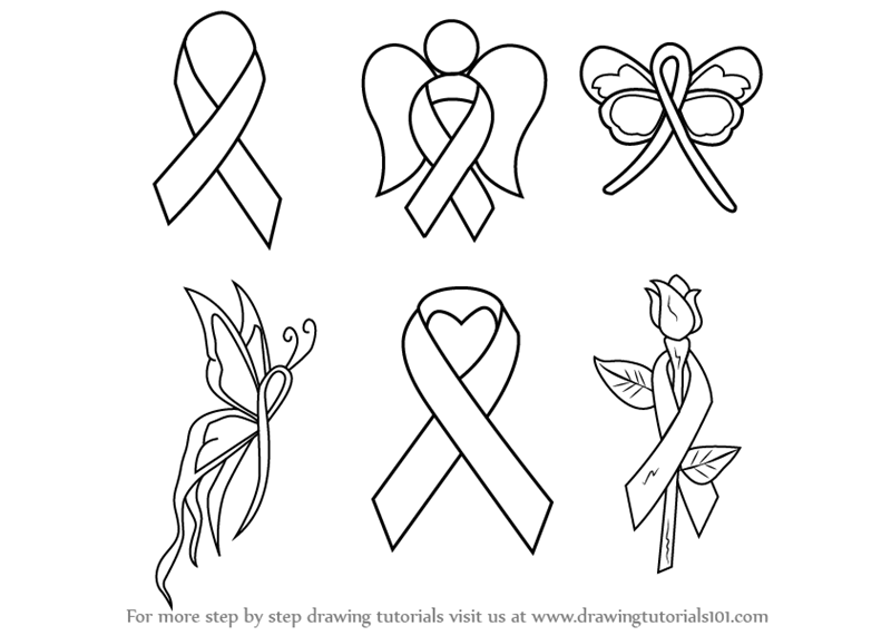 Learn How To Draw Cancer Ribbons Everyday Objects Step By