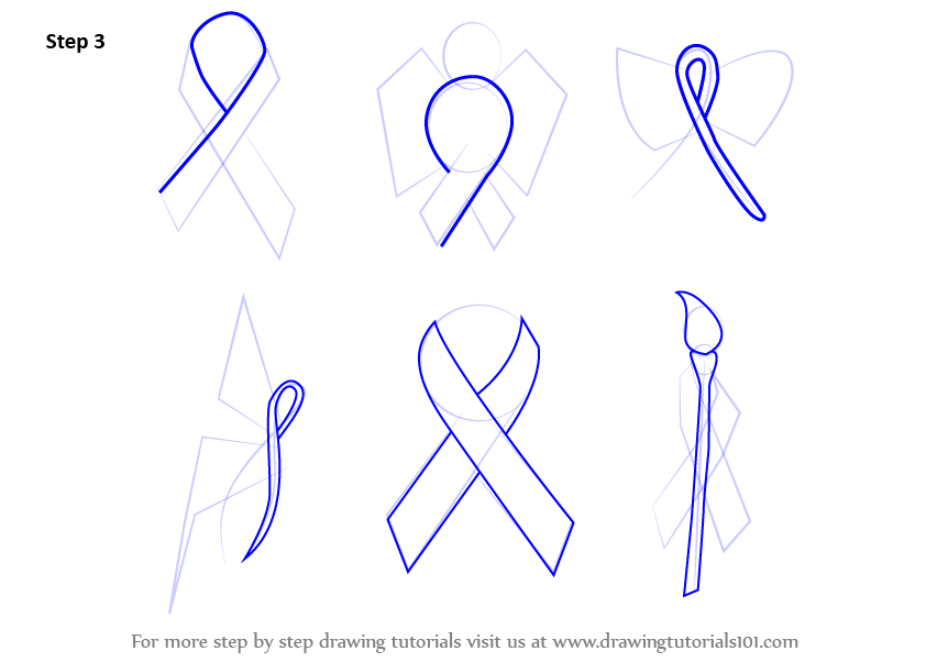 Learn How To Draw Cancer Ribbons Everyday Objects Step By Step