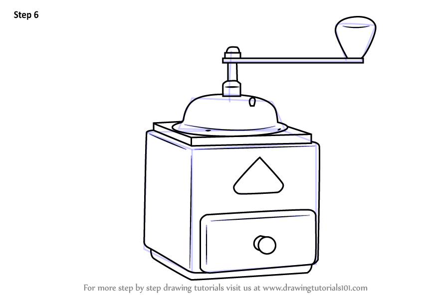 Coffee Grinder Drawing ~ Learn how to draw coffee grinder everyday objects step