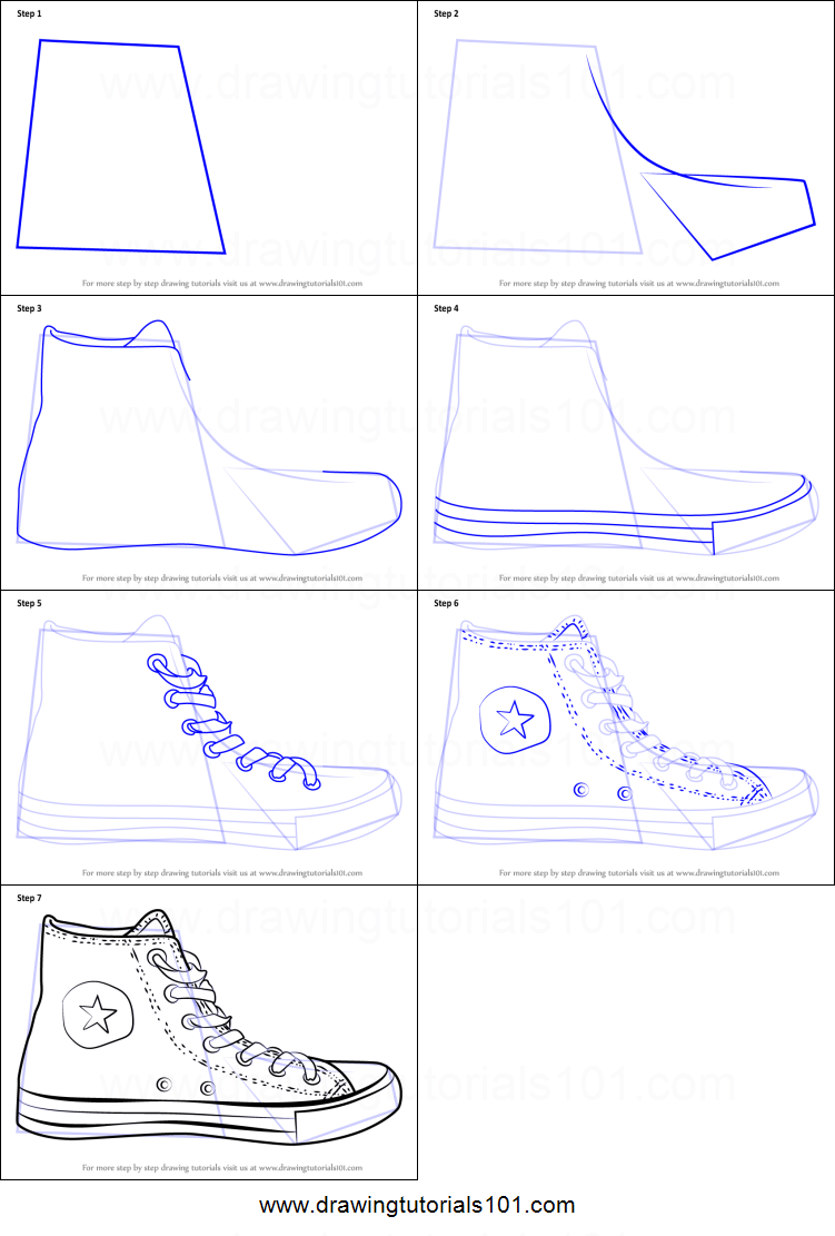 how to draw converse shoe printable step by step drawing sheet. Black Bedroom Furniture Sets. Home Design Ideas
