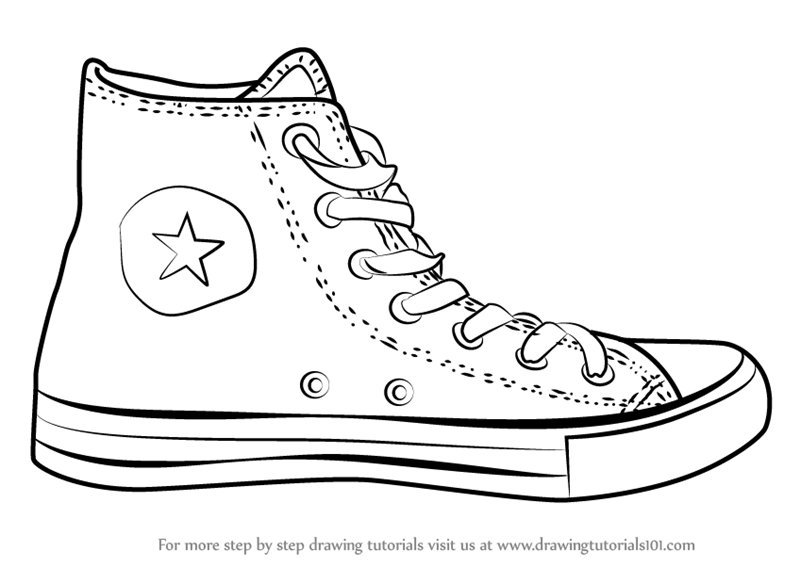 Learn how to draw converse shoe everyday objects step by step drawing tutorials