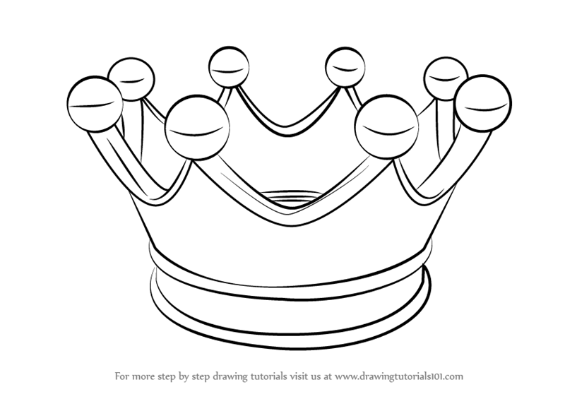 Line Drawing Crown : Learn how to draw a crown for kids everyday objects step