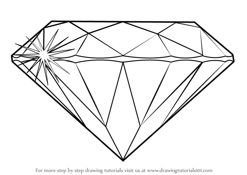 Learn How to Draw a Diamond (Everyday Objects) Step by ...