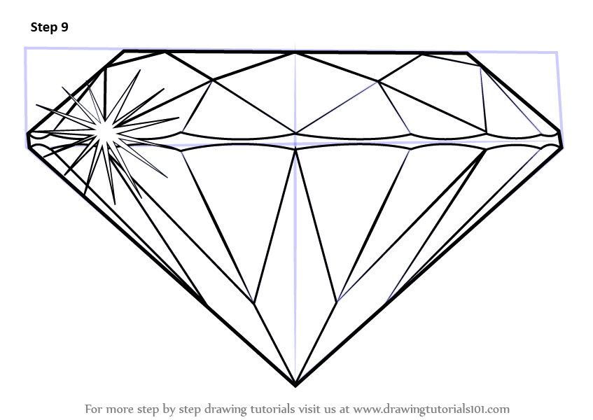 Learn How To Draw A Diamond Everyday Objects Step By