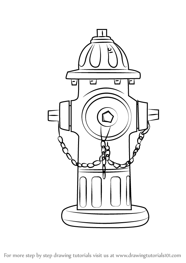 Line Drawing Fire : Learn how to draw fire hydrant everyday objects step by