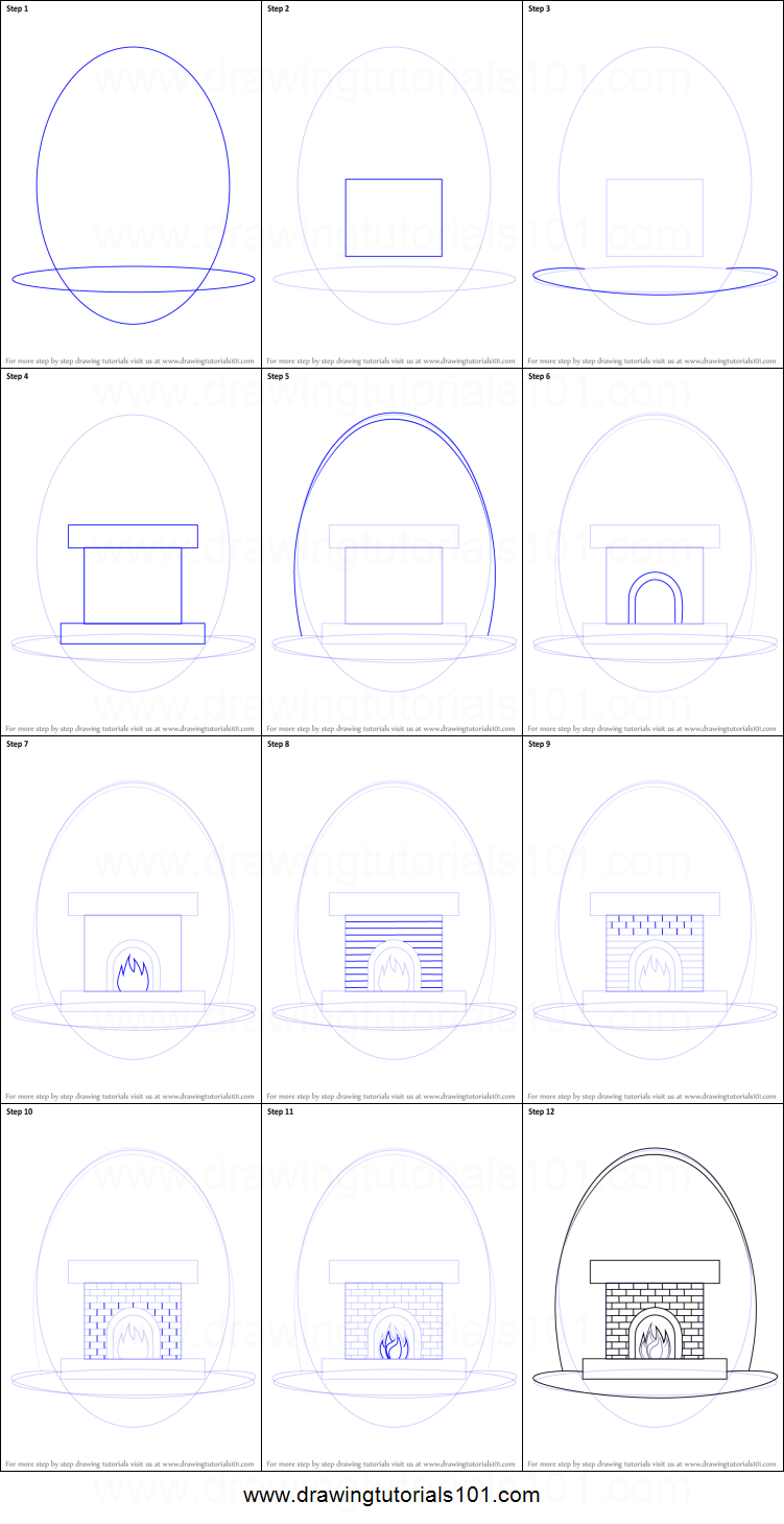 How to Draw a Fireplace printable step by step drawing ...