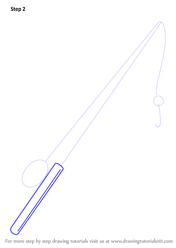 Learn How To Draw Fishing Pole Everyday Objects Step By
