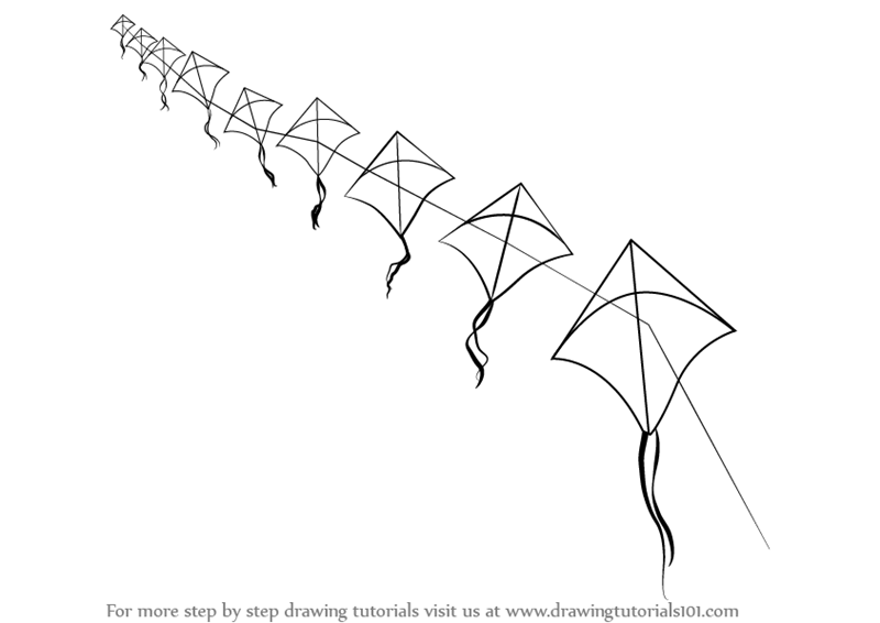 learn how to draw flying kites  everyday objects  step by
