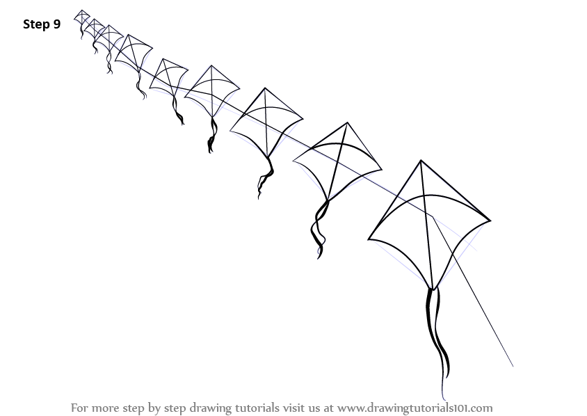 Line Drawing Kite : Learn how to draw flying kites everyday objects step by