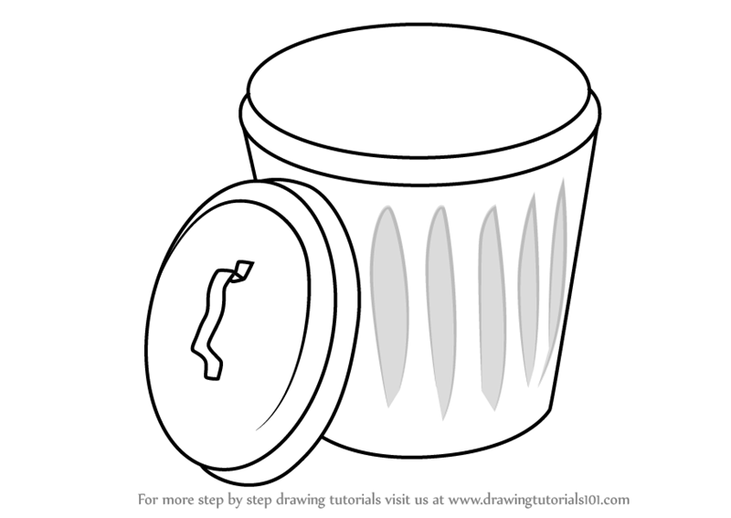 learn how to draw garbage bin everyday objects step by step