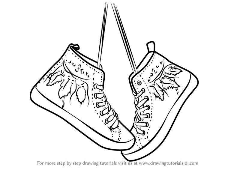 177c39d99cd2 Learn How to Draw Hanging Shoes (Everyday Objects) Step by Step ...