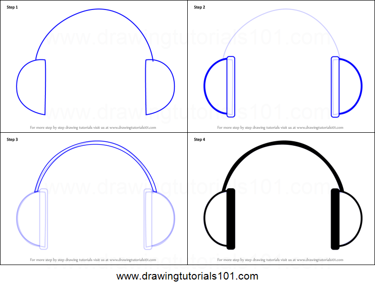 How to draw headphones easy printable step by step drawing sheet drawingtutorials101 com