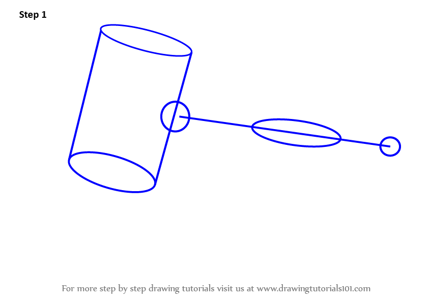 Learn How To Draw Judges Gavel Everyday Objects Step By