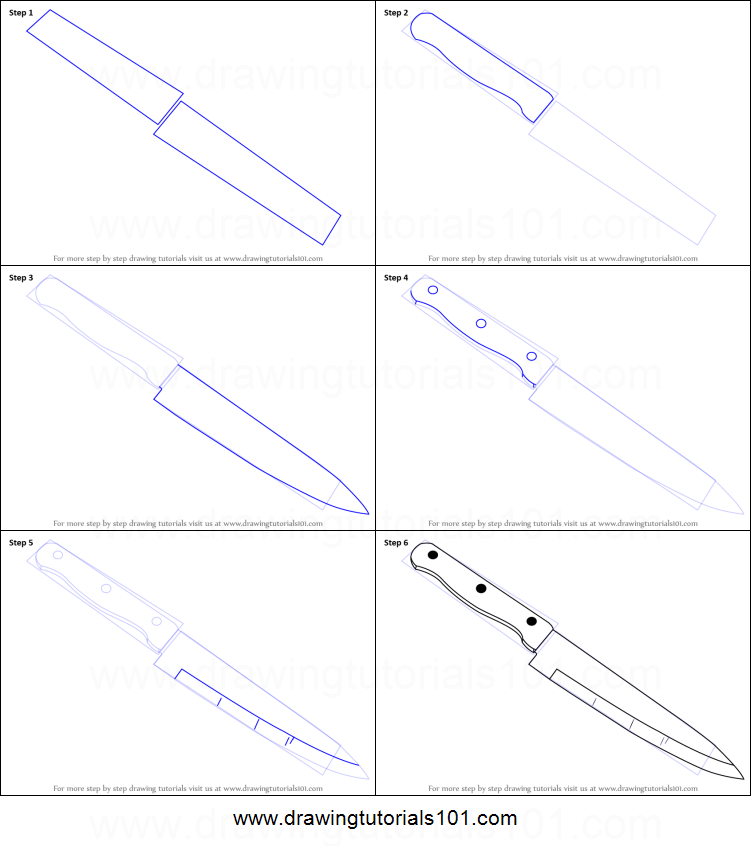 How To Draw A Kitchen Knife Printable Step By Step Drawing Sheet :  DrawingTutorials101.com