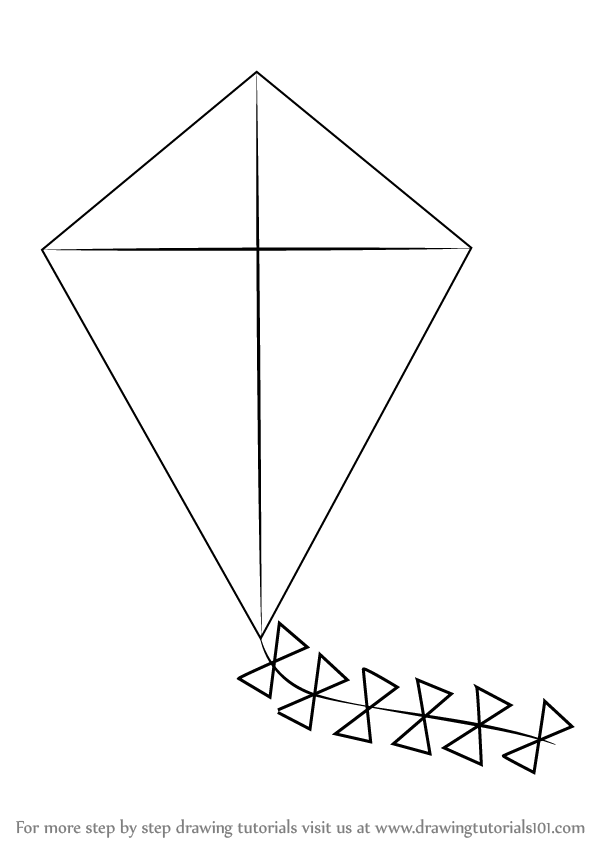 Line Drawing Kite : Learn how to draw kite for kids everyday objects step by