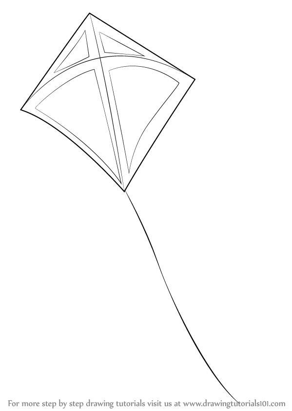 learn how to draw a kite  everyday objects  step by step
