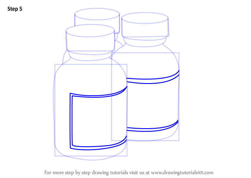 Learn How To Draw Medicine Bottles Everyday Objects Step By Step