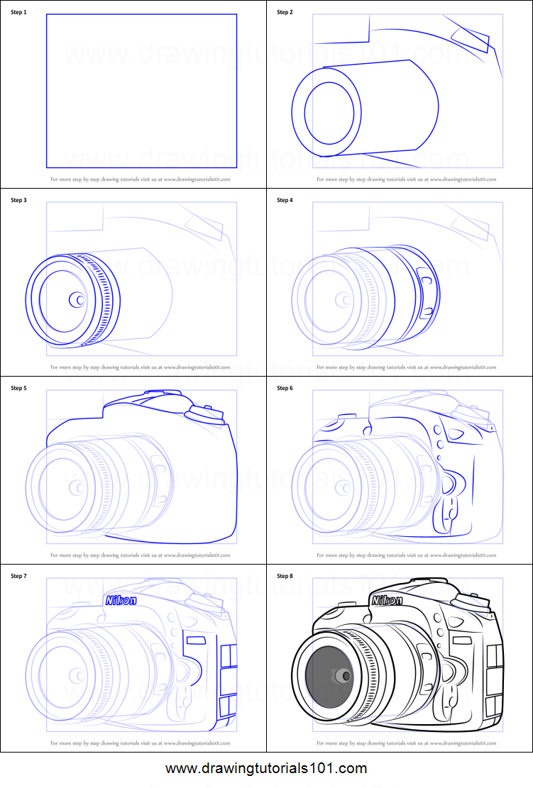 picture about Camera Printable called How in direction of Attract Nikon DSLR Digicam printable stage through phase drawing