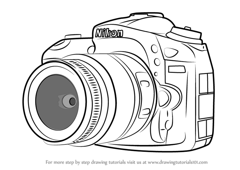 How To Draw Nikon DSLR Camera